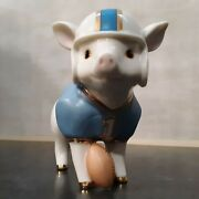 Euc Lenox Pig Figurine Touchdown Tommy 1 Football Player Ivory Fine China Gold
