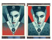 Obey Shepard Fairey Justice Woman Red+blue Signed And Numbered 550 Screen Prints