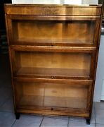 Antique Barrister Bookcase Mission Oak 3 Section Arts And Crafts Vg
