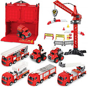 Fire Truck Toy Firestation Playsets, Kids Alloy Emergency Rescue Fire Engine Toy