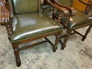 2 Johnathan Charles Leather Arm Chairs – Carved Wood Frame – Beautiful