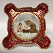 """Antique Royal Vienna Hand Painted Tray/plate """"der Winter"""" Beehive Shield Mark"""