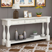Console Table 64.2in Long Extra-thick W/ Drawers Shelf For Entryway Hallway Us