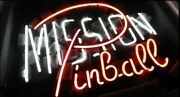 New Mission Pinball Neon Sign 20x16 Artwork Glass Wall Poster Man Cave Display