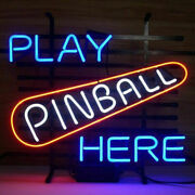 New Play Pinball Here Neon Sign 20x16 Artwork Glass Wall Poster Decor