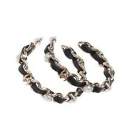 19k Black Leather Hoops Earrings With Gold Chain And Pearls Cc Logo