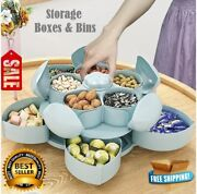Rotating Food Storage Boxes Bins Organizer Case Two-deck Dried Fruit Candy Box
