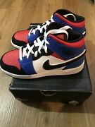Ds Nike Jordan 1 Mid Top 3 Gs Shoes Youthand039s White/black/blue 554725-124 Sz 4.5