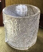 Vintage Lucite Clear Ice Bucket Ice Block Mid Century Barware With Lid And Tongs