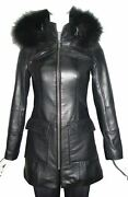 Women Fitted Best Clean Cool Lamb Leather Coat With Fox Fur Trim Hood 4177