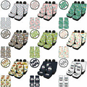 Happy Camper Car Seat Covers Seat Belt+steering Wheel Cover Floor Mats 11/13 Pcs