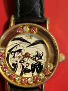 Pepe Le Pew And Penelope Watch With Pink And White Rhinestones