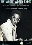 David Ruffin My Whole World Ended Sheet Music Piano/vocal Very Rare 1969 New