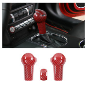 Auto Gear Shift Knob Cover Trim For Ford Mustang 2015-2019 Red Carbon Fiber A