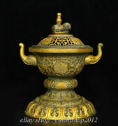 9 Old China Silver Copper 24k Gold Palace Elephant Ear Incense Burners Censer