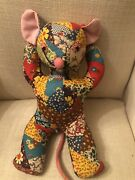 """Vintage Antique Crazy Quilt Plush Mouse With Velvet Tail And Nose Eyes 12"""" Tall"""