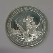 Franklin Mint History Of Us Sterling Silver Medal 1840 Wilkes Exp. To Antarctica