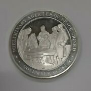 Franklin Mint History Of Us Sterling Silver Medal 1782 Preliminary Peace Treaty