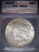 1922-s Peace Dollar Icg Ms64, Tougher Date, Light Gold Toning, Issue Free