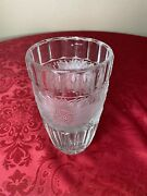 Large Lead Crystal Deco Frosted Sunflower Vase Lalique Style 9 3/4andrdquo H 5 3/4andrdquo W