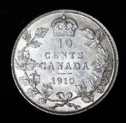 1910 Canada 10 Cent Dime - Edward Vii - .925 Silver - Well Struck And Nice Details