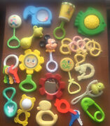 Large Lot Vintage Fisher Price Evenflo First Years Baby Toys, Rattles, Teethers