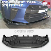 For Nissan My17 R35 Gtr Ts Style Carbon Glossy Front Diffuser Under Spoiler Kits