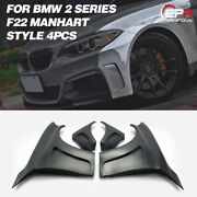 For Bmw F22 Manhart Style Frp Fiber Unpainted Wide Body Front Fender +60mm 4pcs