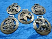 A Group Of Giant Vintage Horse Brasses Elephant Horse And Ships