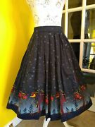 Banned Apparel Dancing Days Blue Owls Swing Skirt Size 10