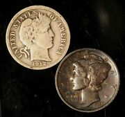 Pair Of 1912-d Barber And 1917 Mercury Dimes - Free Shipping Usa