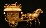 10.4 Old Chinese Copper 24k Gold Gilt Dynasty People Horse Drawn Tram Statue