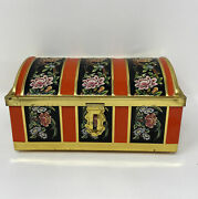 Vintage Dome Shaped Trunk Tin With Latch Biscuits Candy Treasure Chest