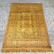 Yilong 3and039x5and039 Handwoven Silk Carpet Gold Antique Home Interior Area Rug Mc336b