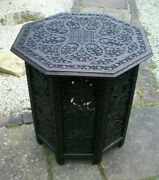 Rare Xtra Large Antique Octagonal Carved Indian/burmese Side Table