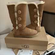 Ugg Bailey Triplet Button Boots In Chestnut Size 7