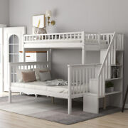 Twin Over Full Bunk Bed W/ Staircase Shelves For Kids Bedroom Furniture Us Stock