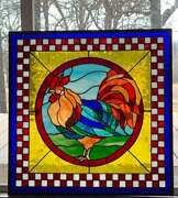 Stained Glass Window Original Design Rooster Style Farmhouse 26 X 26