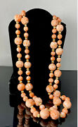 Gorgeous Estate 14k Gold Angel Skin Coral Carved Necklace- W/ Appraisal