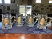 Vtg Golfers Pewter And Glass Beer Mugs Set Of 4 Embossed W/ Grapes And Leaves Nice