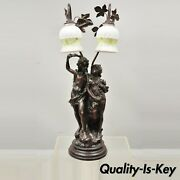 Victorian Art Nouveau French Twin Figural Male And Female Metal Parlor Table Lamp