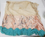 Antique Vintage Chinese Silk Embroidered Floral Skirt Water Damaged As Is