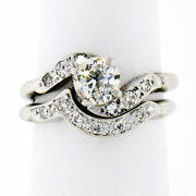 Antique Art Deco 0.87ctw Euro Diamond Solitaire Engagement Ring W/ Matching Band