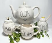 Rae Dunn Queen Bee Teapot And Honey Bee Pot With Dipper , Sweet And Cream Set⭐️
