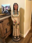Vintage Frank Gallagher 4andrdquo5ft Corn Maiden Cigar Store Indian Statue In Stock