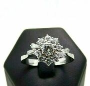 Ring Used Daisy Of Natural Diamonds Ct 0,97 Total Gold Solid 18k