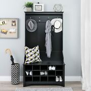Hall Tree Shoe Storage Bench 15-cubby Coat Rack Stand Entryway Foyer Wood Black
