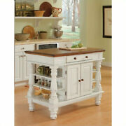 Kitchen Island Wood White Towel Holder Drawer Storage Shelves Spice Rack Cabinet