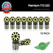 T10 White Led Interior Map Dome License 168 194 W5w 18smd Light Bulbs Canbus 10x
