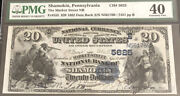 1882-20 Db-the Market St Nb Of Shamokin Pa-pmg 40. Itandrsquos The Only Known Note.